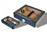 Humidor-Set Kristallglas Carbon Finish V-240