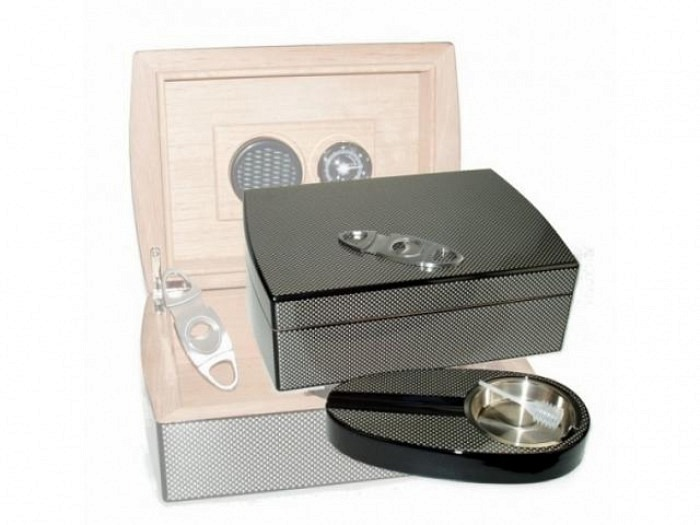 Carbon-Finish Humidor-Set